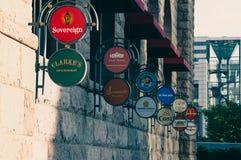Banderas de la zona de restaurantes Imagen de archivo libre de regalías