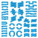 Banderas de las cintas Bandera de la insignia de la venta, etiquetas azules del vintage, etiqueta gráfica plana vacía del arco, e ilustración del vector