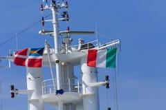 Banderas de las naves en Italia Imagen de archivo