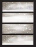 Banderas de las nevadas de la naturaleza del vector Fotografía de archivo libre de regalías