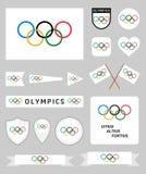 Banderas de las Olimpiadas fijadas Imagenes de archivo