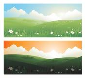 2 banderas de las primaveras ajardinan día y el sunscape con las nubes del sol ilustración del vector