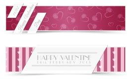 Banderas de las tarjetas de felicitación de la tarjeta del día de San Valentín Imagen de archivo libre de regalías