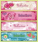 Banderas de las tarjetas del día de San Valentín ilustración del vector