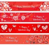 Banderas de las tarjetas del día de San Valentín Imagen de archivo libre de regalías