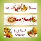 Banderas de los alimentos de preparación rápida Fotos de archivo