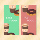 Banderas de los alimentos de preparación rápida con el buñuelo y el café Elementos para el menú que empaqueta, apps, publicidad,  Fotografía de archivo libre de regalías