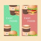 Banderas de los alimentos de preparación rápida con la hamburguesa y el café Elementos para el menú que empaqueta, apps, publicid Fotografía de archivo libre de regalías