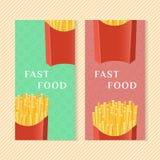 Banderas de los alimentos de preparación rápida con las patatas fritas Elementos del diseño gráfico para el empaquetado del menú, Foto de archivo libre de regalías