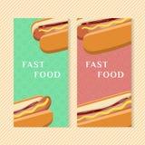 Banderas de los alimentos de preparación rápida con el perrito caliente Elementos para el menú que empaqueta, apps, sitio web, pu Fotografía de archivo libre de regalías