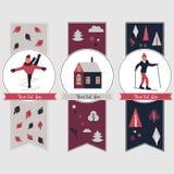 Banderas de los deportes de invierno con diversos caracteres libre illustration