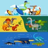 Banderas de los dinosaurios fijadas Imágenes de archivo libres de regalías