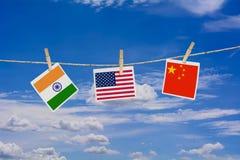 Banderas de los E.E.U.U., de China y de la India foto de archivo libre de regalías