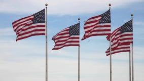 Banderas de los Estados Unidos de América almacen de video