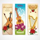 Banderas de los instrumentos de música stock de ilustración