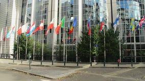 Banderas de los miembros de los países de UE, unión europea que agita, viento de la asta de bandera almacen de metraje de vídeo