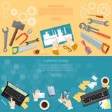 Banderas de los objetos de la ingeniería de la construcción y de diseño Imágenes de archivo libres de regalías