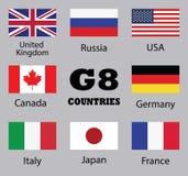 Banderas de los países G8 ilustración del vector
