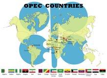 Banderas de los países miembros de la OPEP ilustración del vector