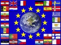 Banderas de los países que pertenecen a la unión europea Imágenes de archivo libres de regalías