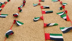 Banderas de los UAE que renuncian en el viento almacen de metraje de vídeo