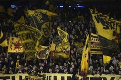 Banderas de los ultras del Borussia Dortmund Imagenes de archivo
