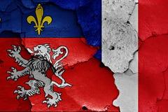 Banderas de Lyon y de Francia Fotos de archivo