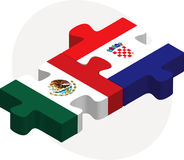 Banderas de México y de Croacia en rompecabezas Foto de archivo