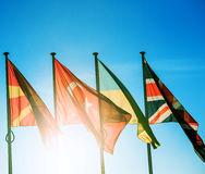 Banderas de Macedonia, de Turquía, de Ucrania y de Reino Unido Imágenes de archivo libres de regalías