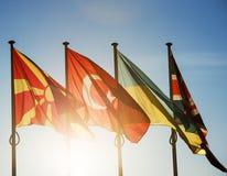 Banderas de Macedonia, de Turquía, de Ucrania y de Reino Unido Fotografía de archivo