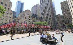 Banderas de Memorial Day en Rockefeller Centerl Imagen de archivo libre de regalías