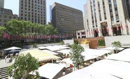 Banderas de Memorial Day en Rockefeller Centerl Foto de archivo libre de regalías