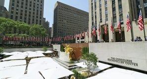Banderas de Memorial Day en Rockefeller Centerl Fotos de archivo libres de regalías
