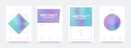 Banderas de moda olográficas, folletos, aviadores, fondos con formas abstractas de la pendiente ilustración del vector
