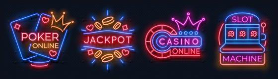 Banderas de neón del casino Muestras de juego de la ruleta afortunada de los naipes de la máquina tragaperras, apuesta en líne stock de ilustración