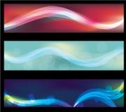 Banderas de neón abstractas borrosas del Web del efecto luminoso Foto de archivo libre de regalías