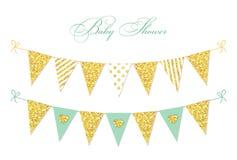 Banderas de oro del empavesado del brillo del vintage lindo del encanto para su decoración libre illustration