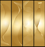 Banderas de oro fijadas. Imágenes de archivo libres de regalías