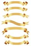 Banderas de oro horizontales Fotos de archivo libres de regalías