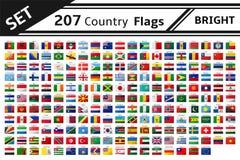 207 banderas de país con efecto del brillo Foto de archivo