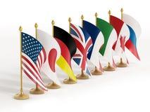 Banderas de país G8 Imagen de archivo libre de regalías