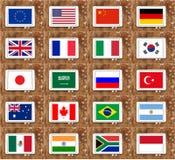 Banderas de país G20 Foto de archivo libre de regalías