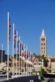 Banderas de país y ciudad de Rab fotografía de archivo libre de regalías