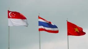 Banderas de países de Asia sudoriental que agitan en el cielo gris almacen de video