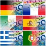 Banderas de países de Eu con los billetes de banco euro Fotografía de archivo