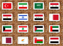 Banderas de países de Oriente Medio Fotos de archivo