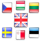 Banderas de países de UE hechas como botones del web Imágenes de archivo libres de regalías