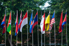 Banderas de países en Asia del sudeste Imagenes de archivo