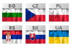 Banderas de países eslavas Imagen de archivo libre de regalías
