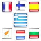 Banderas de países europeos hechas como botones del web Imagen de archivo